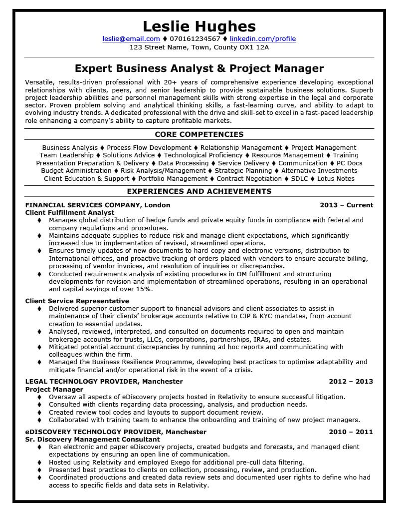 Leslie's CV before CV Knowhow